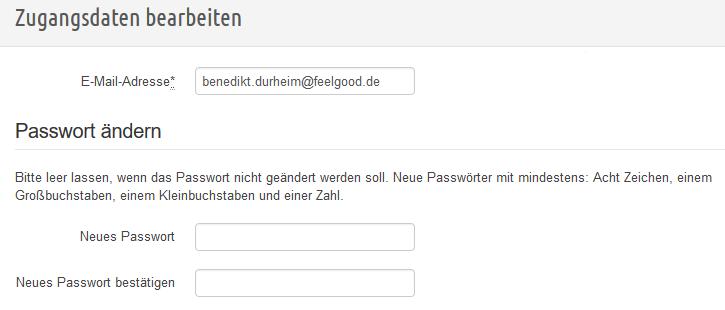 Zugangsdaten bearbeiten - Passwort